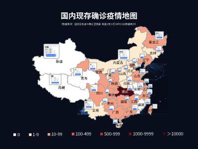 新型冠狀病毒肺炎PPT制作模板-國內現存疫情確診地圖篇(FOCU